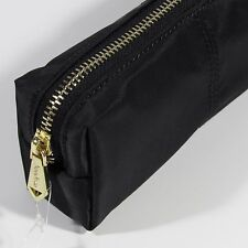 NEIMAN MARCUS COSMETIC ZIPPERED POUCH / PENCIL CASE GOLD HARDWARE.BLACK.NWT