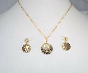 Avon Sunshine Disc Necklace & Earring Set Gold Plate Rhinestones Womens Jewelry