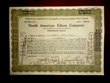 North American Edison Company  Temporary  certificate,cancelled  1925