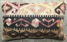 (30*50cm, 12*20inch) Lumbar vintage handwoven kilim cover - Slitweave pastels