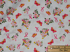 Anything is Possible Pink Ribbon Breast Cancer Survivor Fabric by 1/2 Yd 42140-2