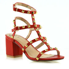 Womens Ladies Ankle Strap Studded Sandals Ladies Rivet Block Heel Shoes Size 3-8