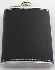 Hip Flask Stainless Steel - New Black Leather - 8oz