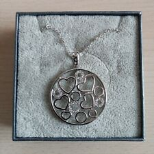 """20"""" RHODIUM PLATED NECKLACE WITH HEART AND CRYSTAL FILLERGREE GIFT BOX N17176"""