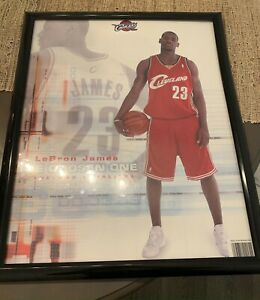 """LEBRON JAMES """"The Chosen One"""" Rookie Poster 2004 16x20 Cleveland Cavs - Framed"""