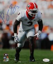 Roquan Smith Autographed Georgia 8x10 In Stance PF Photo - JSA W Auth *Blue