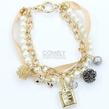 Lots Style Crystal Bow Pendant Gold Chain Pearl Beaded Bracelet Bangle Jewelry