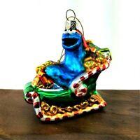 Kurt Adler Christmas Glass Ornament 2011 Cookie Monster on Sleigh Sesame Street