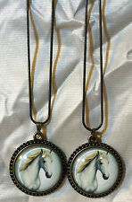 2 Vintage Horse Image Substantial Glass Dome Horse Pendants 18Kgp Snake Chain