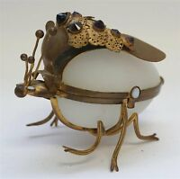 Antique Jeweled French Ormolu Bronze Insect Opaline Egg Trinket Box Casket