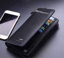 Men's Leather Clutch Wallet ID Credit Card Holder Checkbook Zipper Handbag Purse