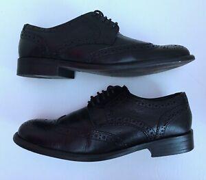 Greenwoods Mens Black Lace Up Smart Brogue Shoes Size 7 Eur 41
