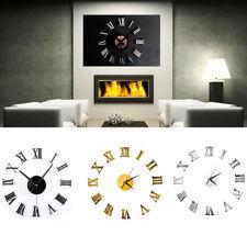 3D Mirror Surface Art Wall Clock DIY Acrylic Sticker Home Office Room Decor