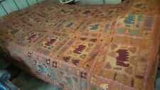 """Vintage APPLIQUE QUILT Made in India, Folk Art, Whimsy,100""""x86"""""""
