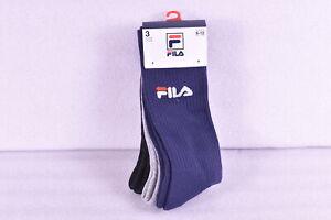Men's Fila Heritage Aerated Mesh Body Crew Socks - 3 Pack- Navy, Black, & Grey