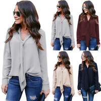 Women Bow Tie Neck Shirt Chiffon Long Sleeve Blouse Tops V-Neck OL Work US STOCK