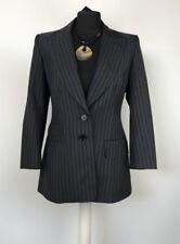 KAREN MILLEN Size UK 12 Black & Blue Wool & Mohair Blend Striped Jacket Blazer