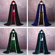 2019 Velvet Hooded Cloak Wicca Robe Medieval Witchcraft Larp Cape Unisex