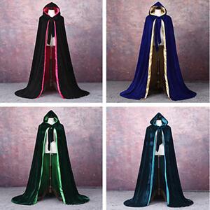 Velvet Hooded Cloak Wicca Robe Medieval Witchcraft Larp Cape Unisex