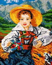 Stickbild  40x50 cm Sticken m. Wolle Gobelin Handarbeiten Motiv Bauernjunge