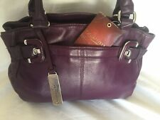 Tignanello BRAND NEW WITH TAGS, Large Purple Leather Handbag. Stunning Bag