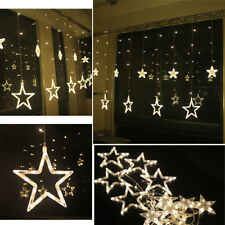 2M 48LEDs Fairy Curtain String Lights +12 Twinkling Stars Icicle Xmas Mix Effect