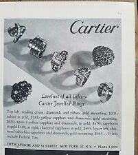 1944 Cartier jewelled Rings vintage jewelry fashion ad