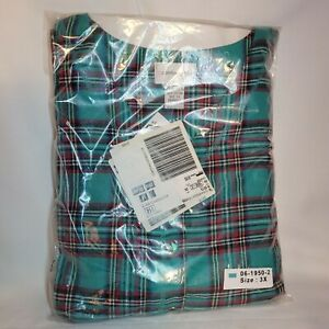 Comfort Choice Ladies Green Plaid Flannel Lounger 3x   New in Package