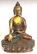 Antique Bouddha médicament Grand Budha laiton 8.5'' lourd méditation sculpté à