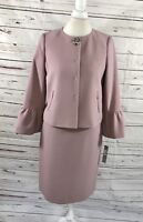 Tahari ASL Women's 2PC Skirt Suit Pink Blazer Buttons Church Career size 6 NWT