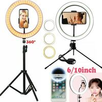 "6""/10"" Dimmable LED Ring Light 120LED Tripod Selfie Mini Circle Lamp Make Up Kit"