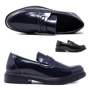 Scarpe da Uomo Classiche in eco Pelle Mocassino Blu e Nero Mocassini Eleganti