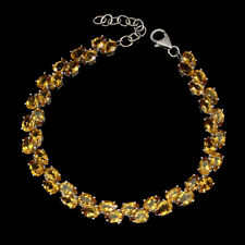 Unheated Pear Citrine 6x4mm White Gold Plate 925 Sterling Silver Bracelet 8.5