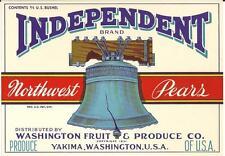 Vintage Independent Brand Pears Crate Label  Washington Fruit Co.Yakima, Wa.