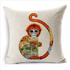 Square Vintage Linen Cotton Cute Animal Monkey Cushion Cover