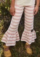 Matilda Jane Rose is a Rose Big Ruffle Pink White Leggings Pants Size 10 New