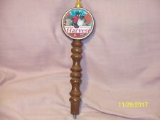 "Long Trail Harvest Ale Beer Tap Handle Dark Stained Wood 12.25"" Tall Vermont"
