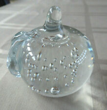 """Vintage Clear Solid Glass Apple W/Leaf Paperweight - Controlled Bubble 3"""" Tall"""