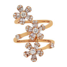 14K Rose Gold Diamond Flower Ring 1.25ct Size 6