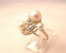 14K Gold Pearl Diamond Ring Size 3.75 3.6gr