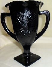 Black Amethyst Glass Fluted Trophy Cup Embossed Urn Dancing Ladies L E Smith