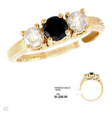 gold Fashionable 3-Stone 0.83 ctw Diamond Ring in Solid Yellow