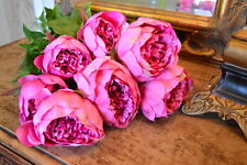 Bunch 8 Large Pink Peonies Artificial Realistic Luxury Faux Silk Peony Flowers