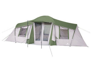 Ozark Trail 10-Person 3-Room Vacation Tent & Shade Awning 20'x11' Fits 3 Queens