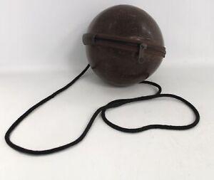 Vintage Genuine COCONUT SHELL Zip Around Purse Shoulder Crossbody Bag  - T21