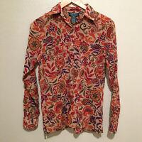 Lauren Ralph Lauren Size Small Women's Floral Short Sleeve Blouse Shirt