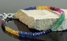 100% Natural Sapphire,Ruby,Emerald Faceted Gemstone Beads Bracelet Silver Clasp