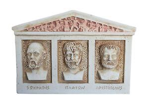 Socrates Aristotle Plato Relief Sculpture Fathers of Philosophy Student Teacher