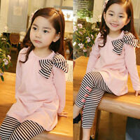 2PCS Toddler Baby Girls Autumn Outfits Clothes T-shirt Tops+ Leggings Pants Lot