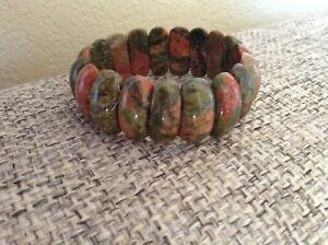 Natural Semi-Precious Stone Unakite Bracelet